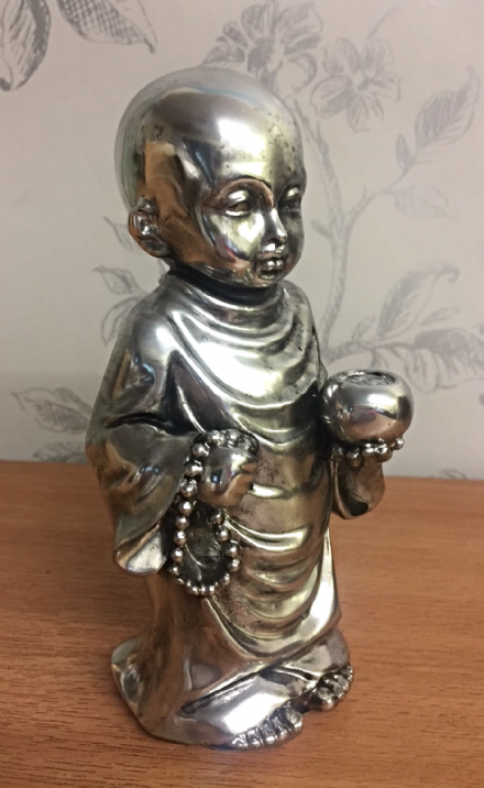 Blackened Mirrored Effect Buddhist Boy Standing in Prayer with Urn